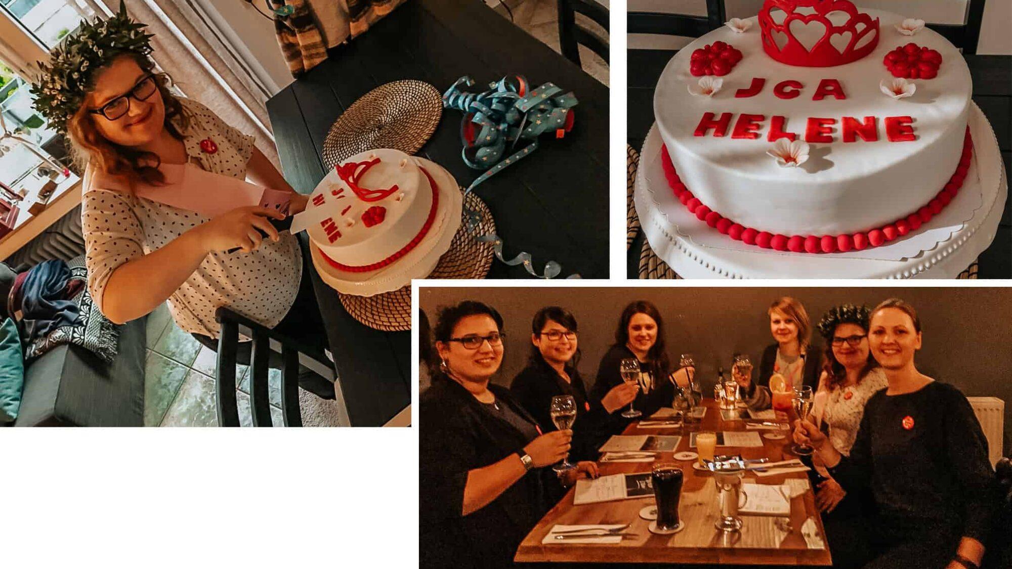 JGA Torte, Blumenkranz und Cocktails